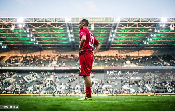 Matthias Lehmann of Koeln is disappointed after loosing the Bundesliga match between Borussia Moenchengladbach and 1 FC Koeln at BorussiaPark on...