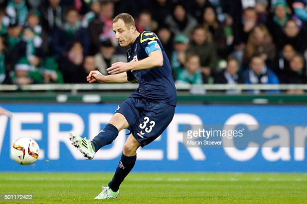 Matthias Lehmann of Koeln plays the ball during the Bundesliga match between Werder Bremen and 1 FC Koeln at Weserstadion on December 12 2015 in...