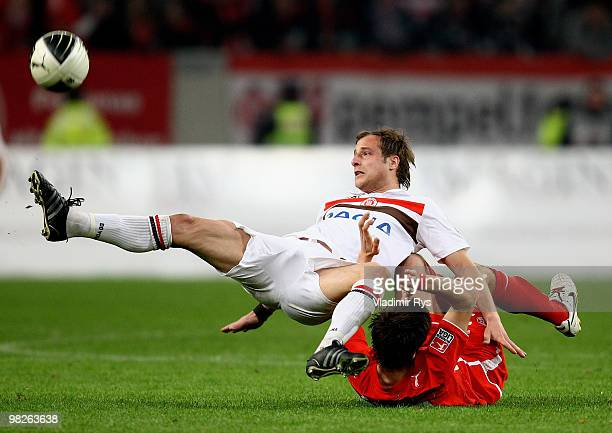 Matthias Lehmann of St Pauli and Martin Harnik of Fortuna battle for the ball during the Second Bundesliga match between Fortuna Duesseldorf and FC...