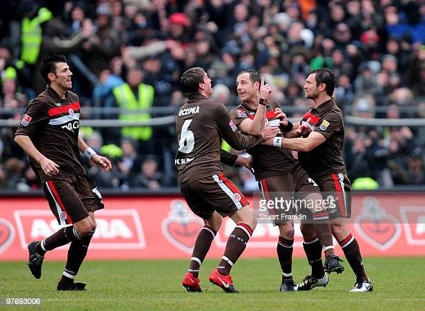 Matthias Lehmann of St Pauli celebrates scoring the second goal with teamates during the Second Bundesliga match between FC St Pauli and RotWeiss...