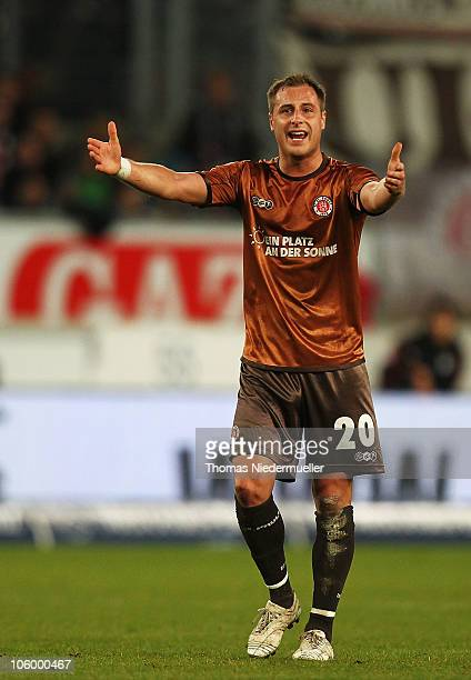 Matthias Lehmann of St Pauli gestures during the Bundesliga match between VfB Stuttgart and FC St Pauli at MercedesBenz Arena on October 24 2010 in...