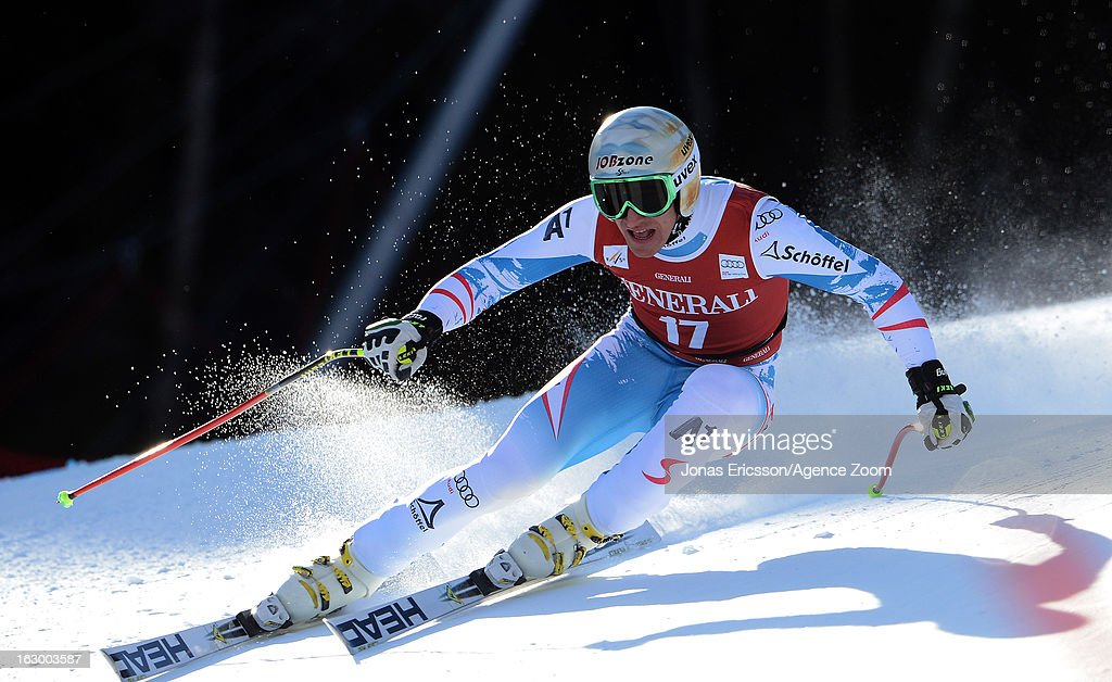 Matthias Mayer of Austria competes during the Audi FIS Alpine Ski World Cup Men's SuperG on March 3, 2013 in Kvitfjell, Norway.