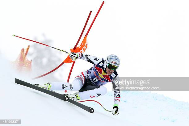 Matthias Mayer of Austria competes during the Audi FIS Alpine Ski World Cup Men's Downhill on January 25 2014 in Kitzbuehel Austria