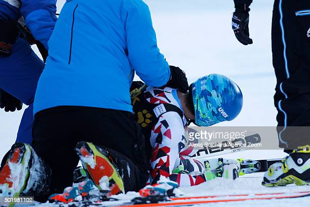 Matthias Mayer of Austria crashes out during the Audi FIS Alpine Ski World Cup Men's Downhill on December 19 2015 in Val Gardena Italy