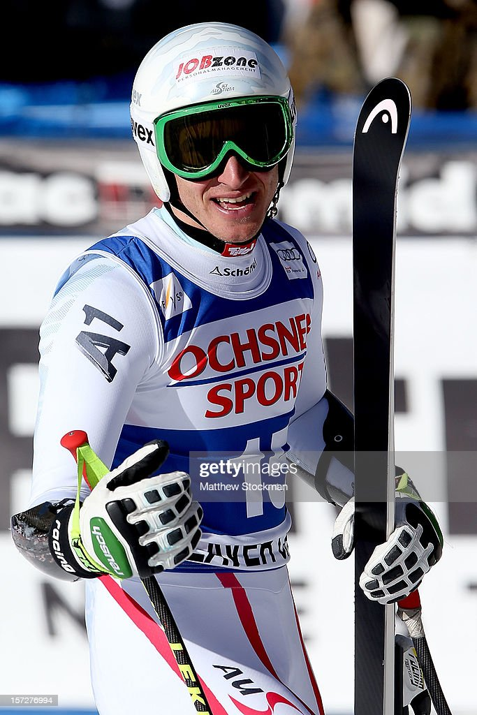 <a gi-track='captionPersonalityLinkClicked' href=/galleries/search?phrase=Matthias+Mayer+-+Skier&family=editorial&specificpeople=12166459 ng-click='$event.stopPropagation()'>Matthias Mayer</a> #15 of Austria leaves the finish area after his run during the men's Super G on the Birds of Prey at the Audi FIS World Cup on December 1, 2012 in Beaver Creek, Colorado.