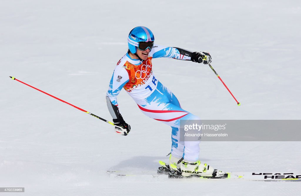 Matthias Mayer of Austria reacts during the Alpine Skiing Men's Giant Slalom on day 12 of the Sochi 2014 Winter Olympics at Rosa Khutor Alpine Center on February 19, 2014 in Sochi, Russia.