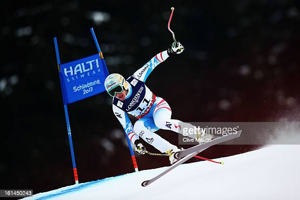 Matthias Mayer of Austria skis in the downhill section of the Men's Super Combined during the Alpine FIS Ski World Championships on February 11 2013...