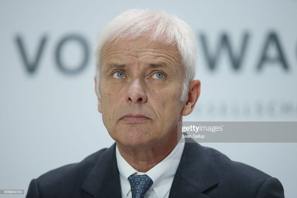 Matthias Mueller, CEO of German automaker Volkswagen AG, attends the company's annual press conference on April 28, 2016 in Wolfsburg, Germany. Volkswagen is facing high costs and stiff penalties, including the possible buyback of up to 500,000 cars it sold in the USA, as a reult of VW's diesel emissions scandal.