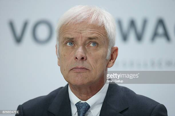 Matthias Mueller CEO of German automaker Volkswagen AG attends the company's annual press conference on April 28 2016 in Wolfsburg Germany Volkswagen...