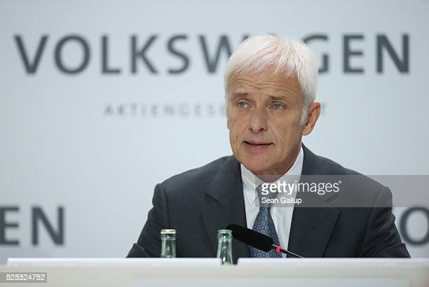 Matthias Mueller CEO of German automaker Volkswagen AG speaks at the company's annual press conference on April 28 2016 in Wolfsburg Germany...