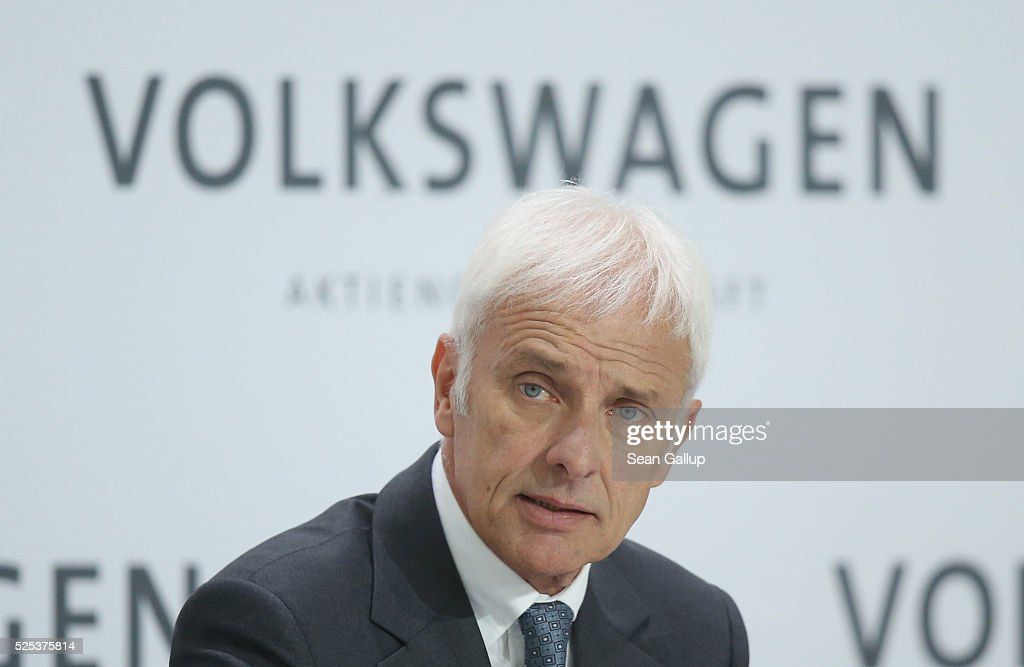 Matthias Mueller, CEO of German automaker Volkswagen AG, speaks at the company's annual press conference on April 28, 2016 in Wolfsburg, Germany. Volkswagen is facing high costs and stiff penalties, including the possible buyback of up to 500,000 cars it sold in the USA, as a reult of VW's diesel emissions scandal.