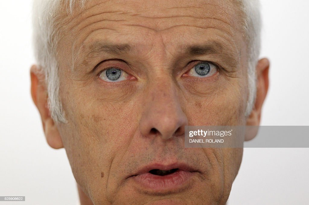 Matthias Mueller, CEO of German car maker Volkswagen and board member of the Porsche Holding, is pictured during Porsche's annual press conference to present the business report in Stuttgart, Germany, on April 29, 2016. / AFP / DANIEL