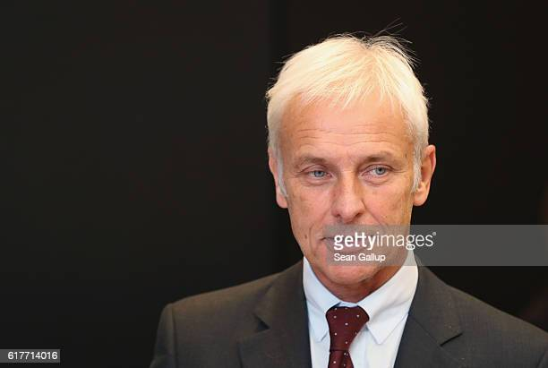 Matthias Mueller CEO of German carmaker Volkswagen AG attends an event to present the company's new sustainability council following the council's...