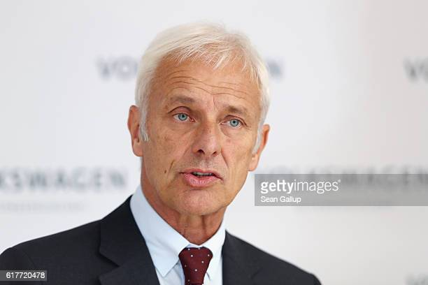 Matthias Mueller CEO of German carmaker Volkswagen AG speaks at an event to present the company's new sustainability council following the council's...
