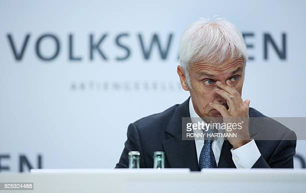 Matthias Mueller CEO of German carmaker Volkswagen attends the company's annual press conference on April 28 2016 in Wolfsburg northern Germany / AFP...