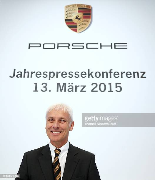 Matthias Mueller CEO of Porsche AG attends the Porsche AG annual press conference on March 13 2015 in Stuttgart Germany The conference focused on the...