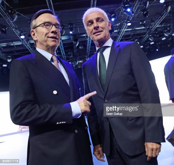 Matthias Mueller CEO of Volkswagen and Matthias Wissmann President of the German Automobile Industry Association attend the Volkswagen presentation...