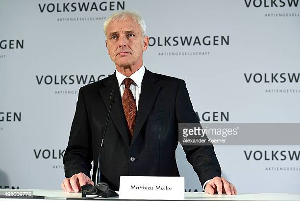 Matthias Mueller CEO of Volkswagen Group speaks to the media following a meeting of highranking Volkswagen managers on November 20 2015 in Wolfsburg...