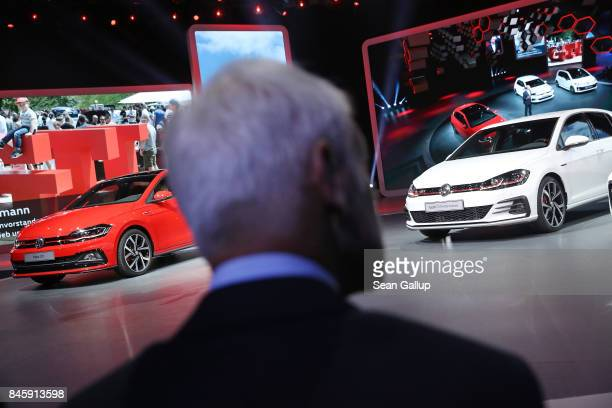 Matthias Mueller CEO of Volkswagen watches the Volkswagen presentation at the 2017 Frankfurt Auto Show on September 12 2017 in Frankfurt am Main...