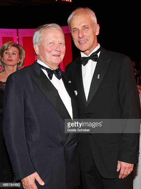 Matthias Mueller CEO Volkswagen AG and Wolfgang Porsche during the Leipzig Opera Ball 2015 on October 31 2015 in Leipzig Germany