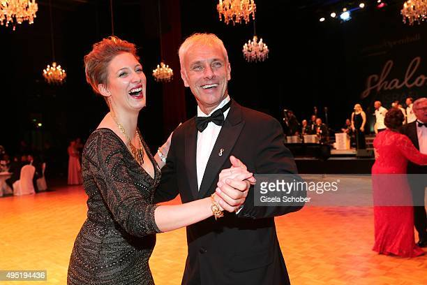 Matthias Mueller CEO Volkswagen AG dances with his daughter Julia Ortmann during the Leipzig Opera Ball 2015 on October 31 2015 in Leipzig Germany