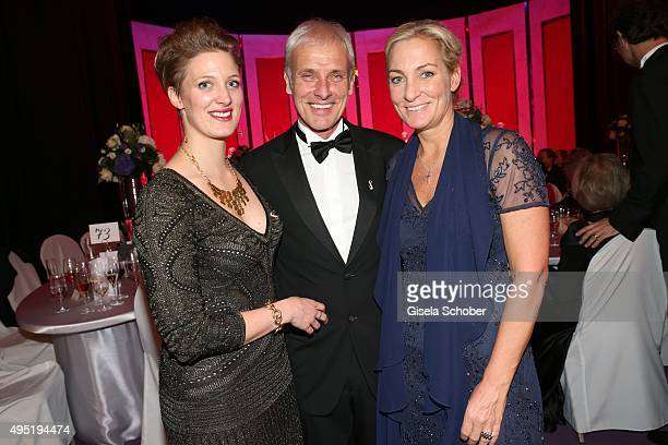 Matthias Mueller CEO Volkswagen AG with his daughter Julia Ortmann and his partner Barbara Rittner during the Leipzig Opera Ball 2015 on October 31...