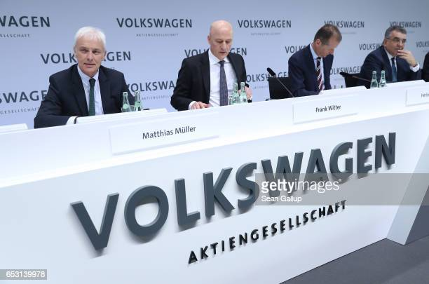 Matthias Mueller Chairman of German automaker Volkswagen AG and other VW executives arrive for the company's annual press conference to present its...
