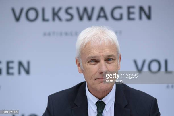 Matthias Mueller Chairman of German automaker Volkswagen AG arrives for the company's annual press conference to present its financial results for...