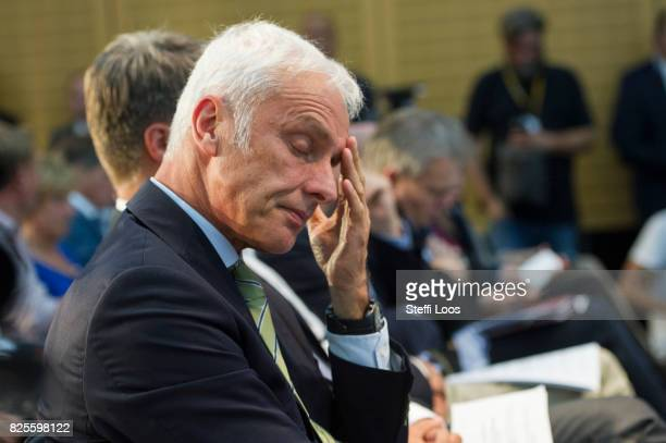 Matthias Mueller Chairman of Volkswagen AG attends a news conference after the Diesel Conference on August 2 2017 in Berlin Germany Germany's car...
