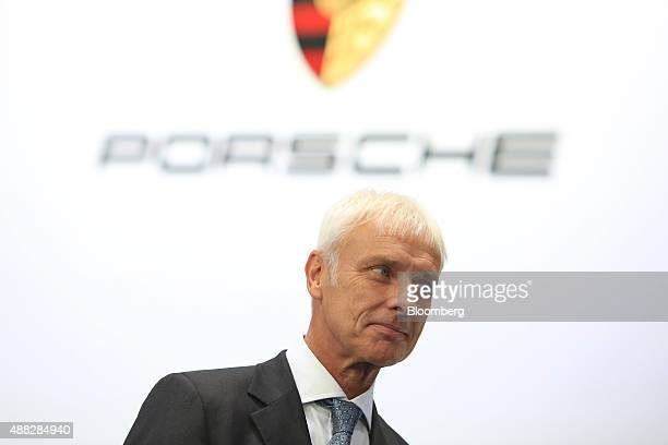 Matthias Mueller chief executive officer of Porsche AG pauses during a Bloomberg Television interview during previews to IAA Frankfurt Motor Show in...