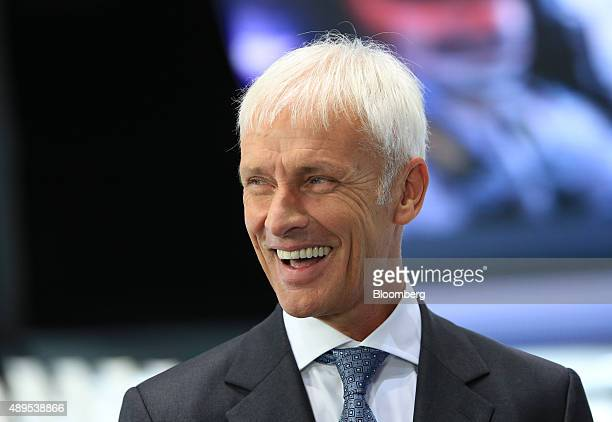 Matthias Mueller chief executive officer of Porsche AG reacts during a Bloomberg Television interview during previews to IAA Frankfurt Motor Show in...