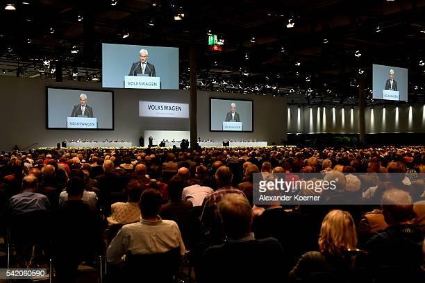 Matthias Mueller head of German automaker Volkswagen AG speaks on stage during the annual Volkswagen general shareholders meeting on June 22 2016 in...