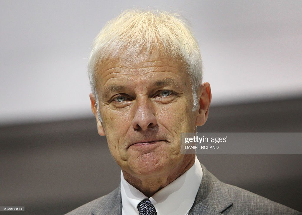 Matthias Mueller, Volkswagen chief and board member of German company Porsche SE is pictured during the company's annual shareholder meeting in Stuttgart, on June 29, 2016. / AFP / DANIEL