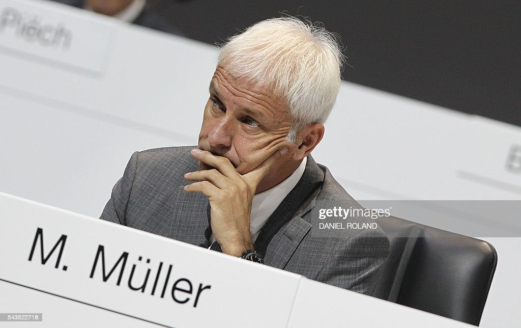 Matthias Mueller board member of German company Porsche SE is pictured during the company's annual shareholder meeting in Stuttgart, Germany, on June 29, 2016. / AFP / DANIEL