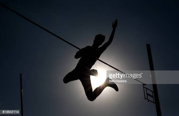 Matthias Orban of France in action during the final of the boys pole vault on day five of the IAAF U18 World Championships at The Kasarani Stadium on...
