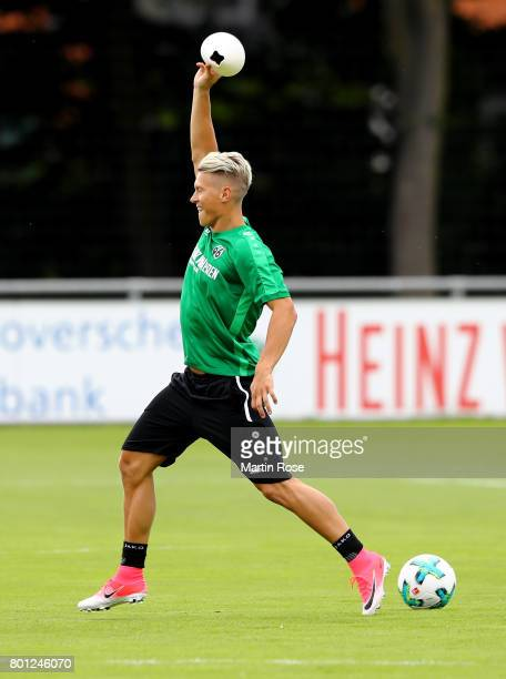 Matthias Ostrlozek in action during a Hannover 96 training session at HDIArena on June 26 2017 in Hanover Germany
