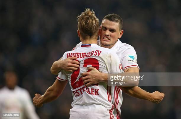 Matthias Ostrzolek of Hamburg and Kyriakos Papadopoulos of Hamburg celebrate their win after the Bundesliga match between Hamburger SV and Hertha BSC...