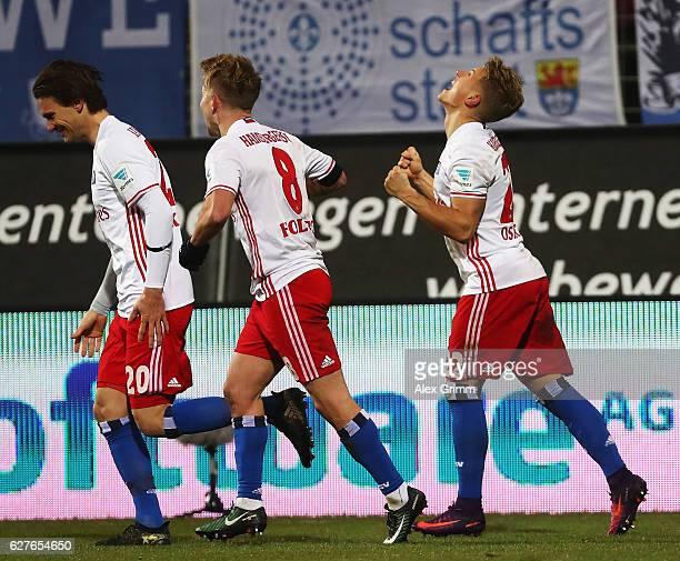 Matthias Ostrzolek of Hamburg celebrates scoring the second goal during the Bundesliga match between SV Darmstadt 98 and Hamburger SV at Stadion am...