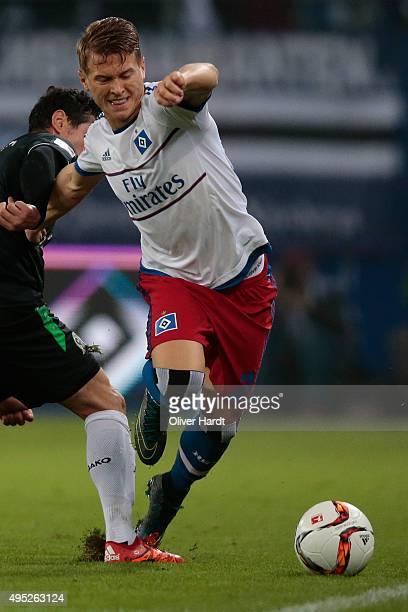 Matthias Ostrzolek of Hamburg during the First Bundesliga match between Hamburger SV and Hannover 96 at Volksparkstadion on November 1 2015 in...
