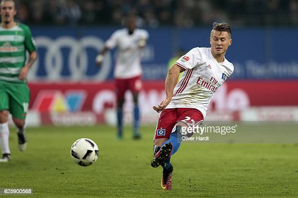 Matthias Ostrzolek of Hamburg in action during the Bundesliga match between Hamburger SV and Werder Bremen at Volksparkstadion on November 26 2016 in...