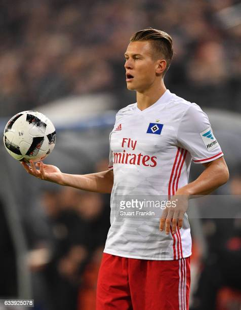 Matthias Ostrzolek of Hamburg in action during the Bundesliga match between Hamburger SV and Bayer 04 Leverkusen at Volksparkstadion on February 3...