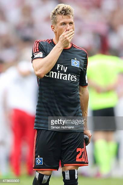 Matthias Ostrzolek of Hamburg reacts after the Bundesliga match between VfB Stuttgart and Hamburger SV at MercedesBenz Arena on May 16 2015 in...