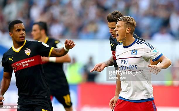 Matthias Ostrzolek of Hamburg reacts during the Bundesliga match between Hamburger SV and VfB Stuttgart at Volksparkstadion on August 22 2015 in...