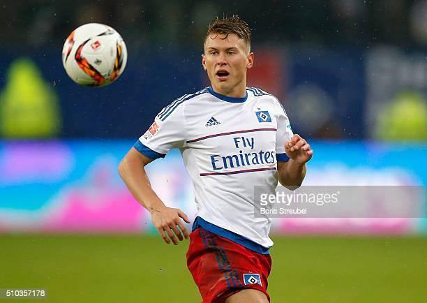 Matthias Ostrzolek of Hamburg runs with the ball during the Bundesliga match between Hamburger SV and Borussia Moenchengladbach at Volksparkstadion...