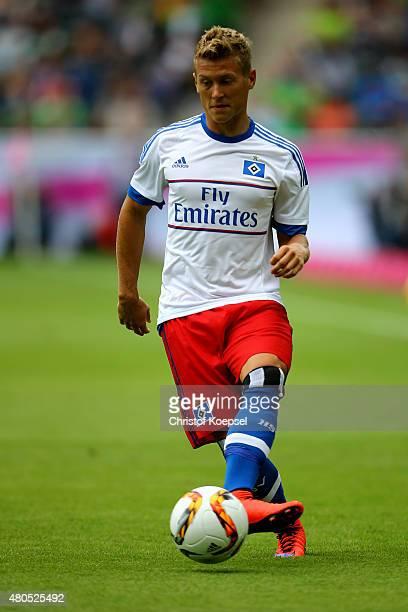 Matthias Ostrzolek of Hamburg runs with the ball during the Telekom Cup 2015 third place match between Borussia Moenchengladbach and FC Bayern...