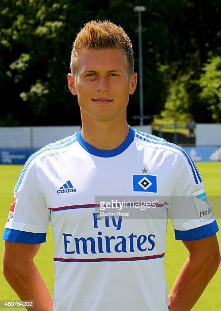 Matthias Ostrzolek of Hamburger SV poses during the team presentation of Hamburger SV at Volksparkstadion on July 15 2015 in Hamburg Germany