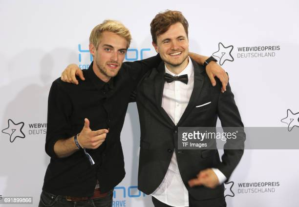 Matthias Roll and Phil Laude of YTitty attend the Webvideopreis Deutschland 2017 at ISS Dome on June 1 2017 in Duesseldorf Germany