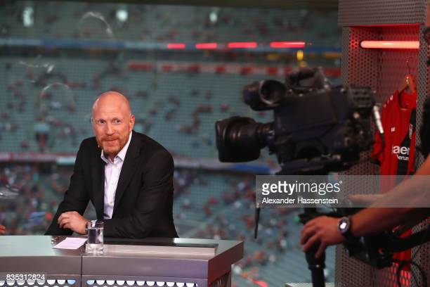 Matthias Sammer at the Eurosport TV studio prior to the Bundesliga match between FC Bayern Muenchen and Bayer 04 Leverkusen at Allianz Arena on...