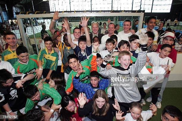 Matthias Sammer Christian Nerlinger and Children during the 'Play Soccer Get Together' charity tournament sponsored by Bitburger on February 24 2007...