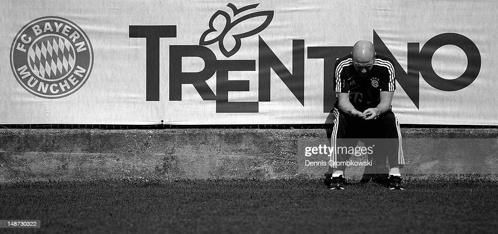 Matthias Sammer director of sports of Bayern Muenchen sits on a wall during day five of the Bayern Muenchen preseason training camp at Arco Stadium...